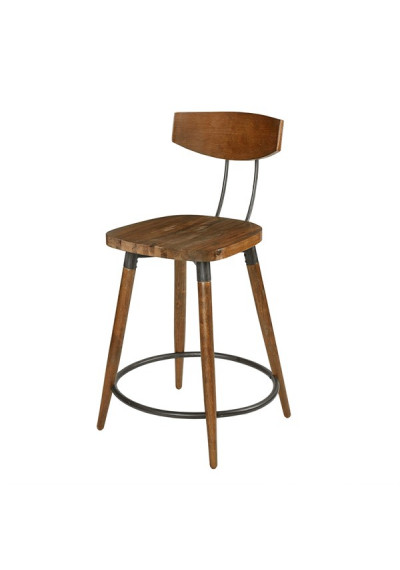 Wood & Metal Industrial Counter Bar Stool with Back