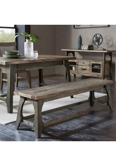Industrial Wood & Metal Dining Bench