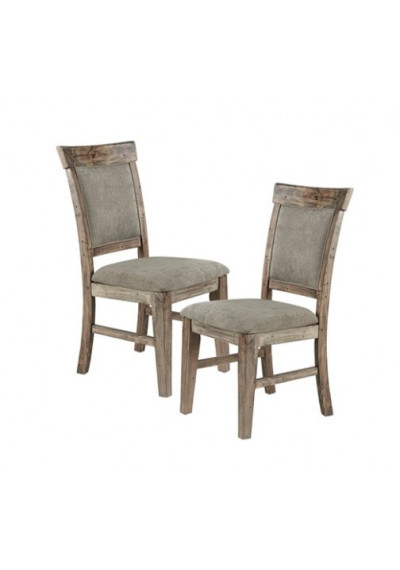 Industrial Rustic Wood & Fabric Dining Chair Set 2