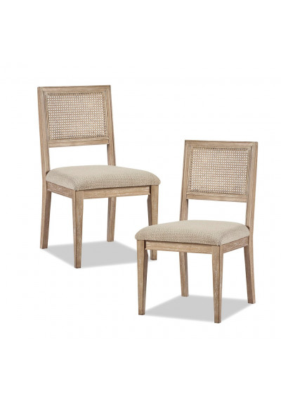 Light Wood Cane Insert Beige Fabric Dining Chair Set 2