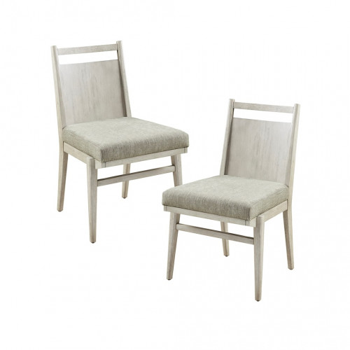 Farmhouse Natural Wood & Fabric Dining Chair Set 2