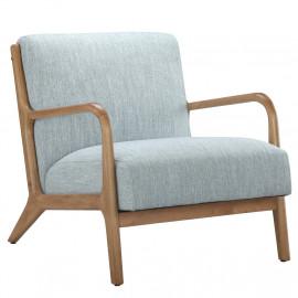 Light Blue Fabric & Elm Wood Finish Lounge Chair