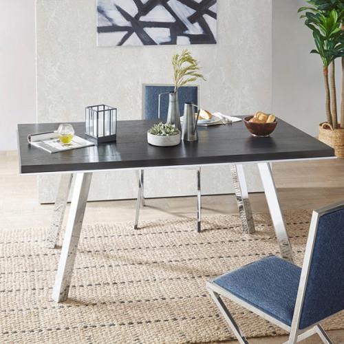 Dark Wood Shiny Silver Base Modern DESK Dining Table