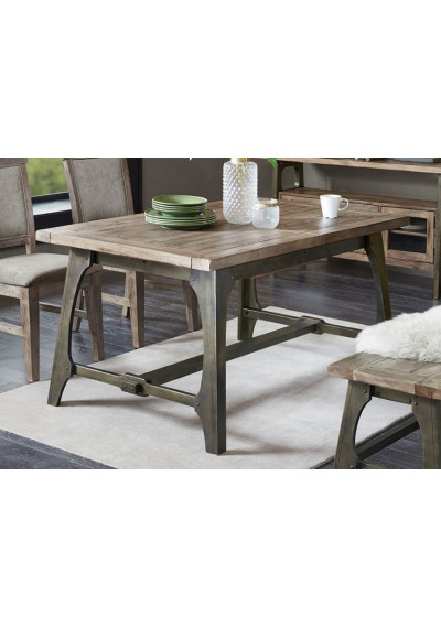 Industrial Rectangle Wood & Metal Extension Dining Table