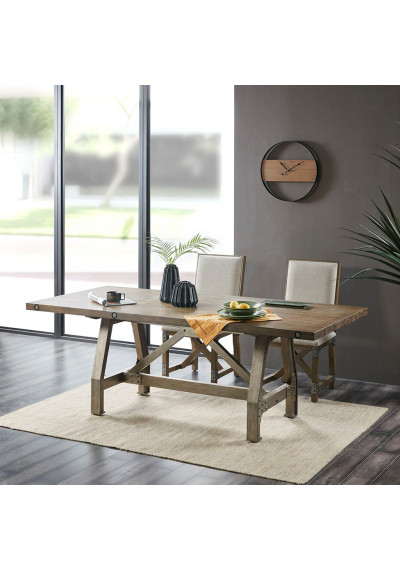 Industrial Rectangle Grey Wood & Silver Metal Dining Table