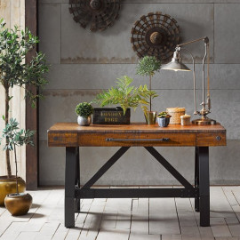 Rustic Industrial Wooden and Iron Desk