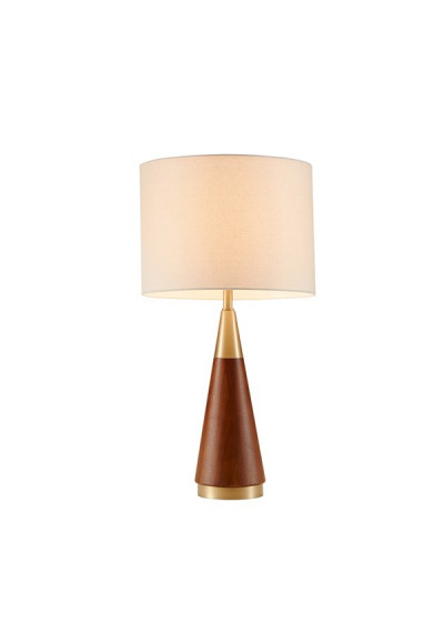 Wood Cone Shaped Gold Accents Table Lamp