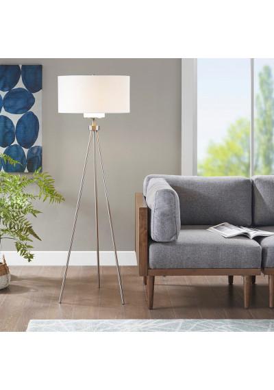 Silver Modern Tripod Floor Lamp White Shade