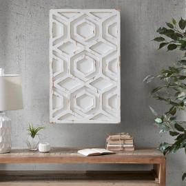 Worn Rustic White Geometric Wood Wall Art