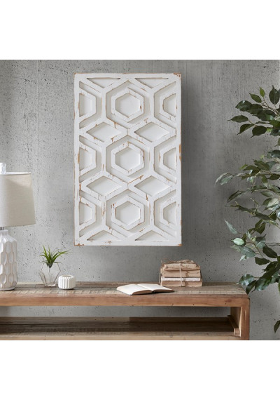 Worn Rustic White Geometric Wood Wall Art