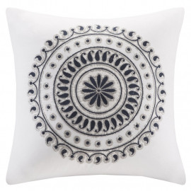 Embroidered Medallion Blue & Silver Pillow