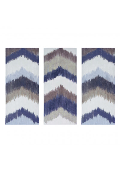 Chevron Pattern Tryptych Wall Art Blues