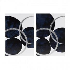 Dark Blue Navy & Silver Balls & Hoops Canvas Wall Art Set 2