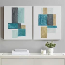 Modern Geometric Blocks Wall Art Blue Green Gold - Set of 2