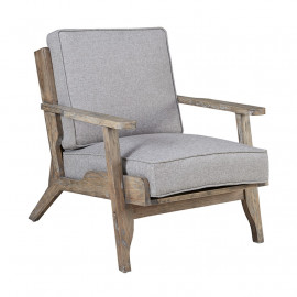Beach Bungalow Wood & Light Grey Fabric Lounge Chair