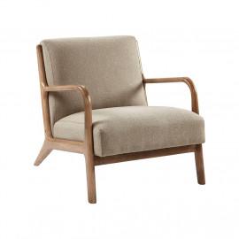 Tan Taupe Fabric & Elm Wood Finish Lounge Chair