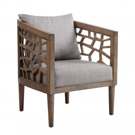 Cracked Design Carmel Wood Accent Chair Grey Fabric