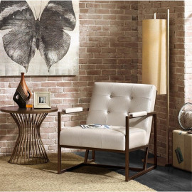 White Ostrich Eco Leather Embossed Lounge Chair