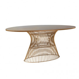Antique Bronze Wood Midcentury Oval Modern Dining Table