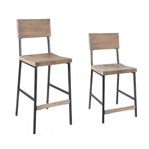 Light Wood & Rustic Metal Industrial Counter or Bar Stool