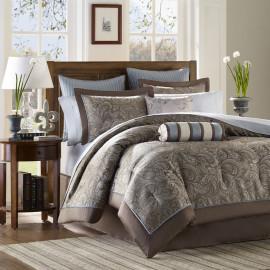 Brown & Soft Blue Comforter & Sheet Set