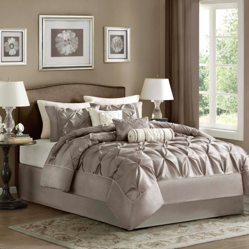 Tufted Taupe Queen Comforter Set