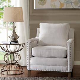 Light Grey Comfortable Arm Chair Nail Head Trim