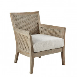 Natural Wood Cane Rattan Back Accent Chair