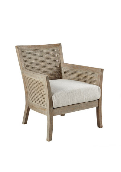 Natural Wood Cane Back Accent Chair