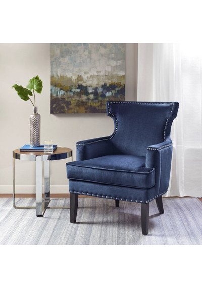 Velvety Blue Accent Chair Silver Nail Head Trim