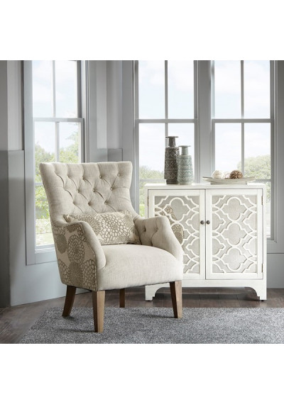 Beige Tufted Floral Backed Accent Chair