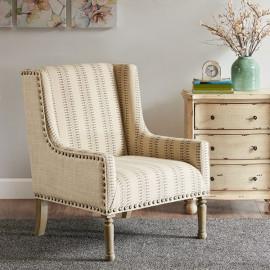 Natural & Brown Hue Print High Wing Back Arm Chair