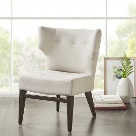 Contemporary Dark Wood Ivory Fabric Wing Back Armless Accent Chair