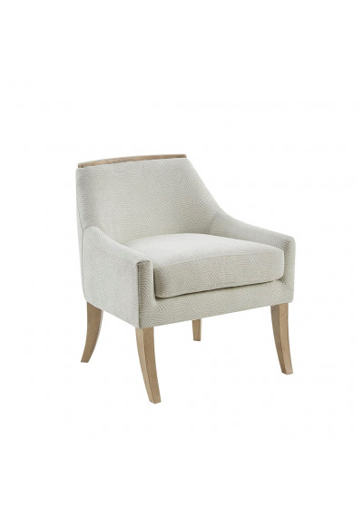 Off White Cream Geometric Print Fabric Accent Chair