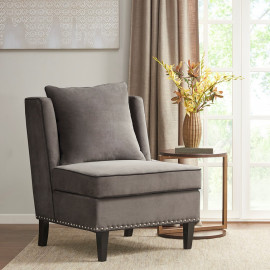Grey Lush Fabric Accent Slipper Chair