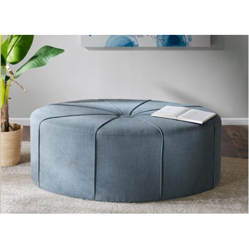 Blue Fabric Oval Coffee Table Ottoman with Welting