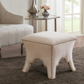 Empire Linen Color Silver Studded Footstool Ottoman