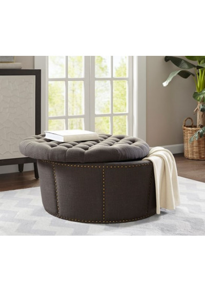 Charcoal Grey Tufted & Studded Round Storage Ottoman Footstool
