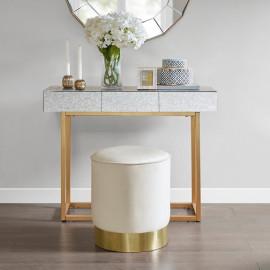 Cream Round Velvet Gold Base Ottoman Footstool