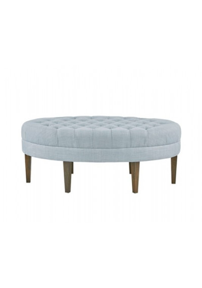 Light Blue Fabric Oval Coffee Table Ottoman Bench