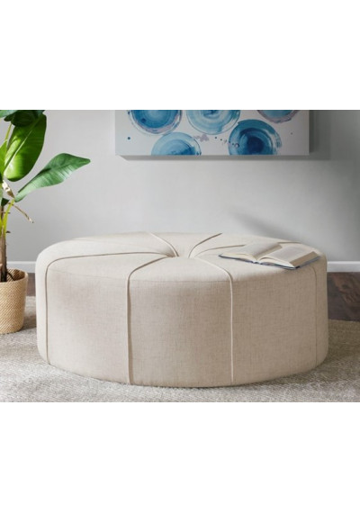 Cream Fabric Oval Coffee Table Ottoman with Welting
