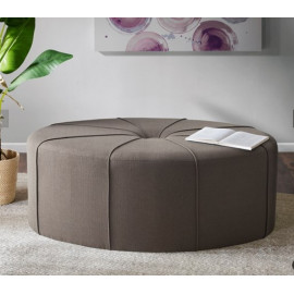 Dark Dusty Grey Fabric Oval Coffee Table Ottoman with Welting