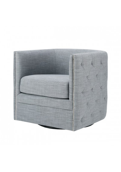 Slate Grey Button Tufted Square Swivel Chair