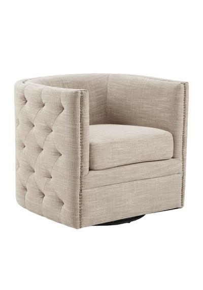 Cream Linen Color Button Tufted Square Swivel Chair