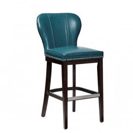Blue Upholstered Silver Studded Dark Wood Counter Stool