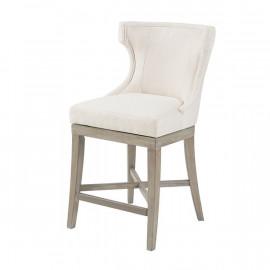 Elegant Cream Fabric Light Wood Swivel Seat Counter Stool Set 2