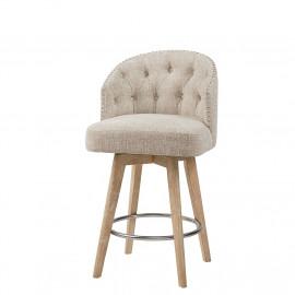 Textured Cream Button Tufted Barrel Style Wood Leg Swivel Stool