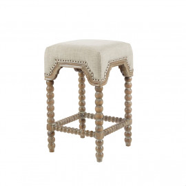 Grey Silver Toned Linen Fabric Backless Counter Stool NailHead Trim Spindle Leg