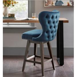 Blue Tufted Back Winged Swivel Stool Light Wood Legs