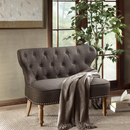 Charcoal Grey Tufted Natural Reclaimed Spooled Leg Loveseat Settee
